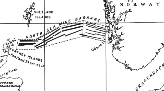 naval sea mine barrage map 1918