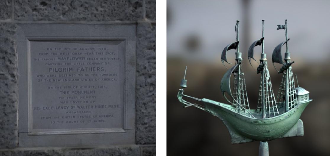 mayflower memorial plaque and bronze ship